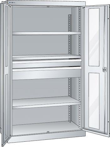 Schwerlastschrank, Key-Lock mit Sichtfenstertüren, 3 Ver-