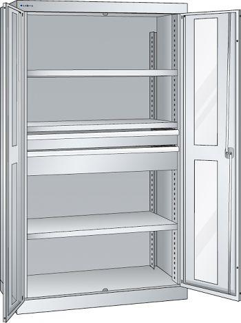 Schwerlastschrank, Code-Lock mit Sichtfenstertüren, 3 Ver-