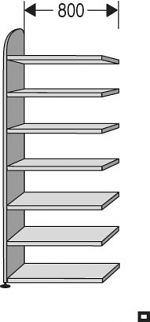 "Regalfeld ""Dante-contur"" HxBxT: 2.600 x 800 x 325 mm"