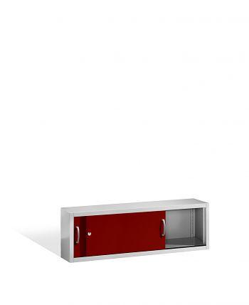 Aufsatzschrank+Mitteltrennwand 500x1600x400 lichtgr./rot