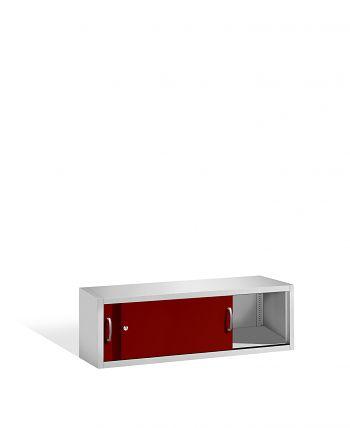 Aufsatzschrank+Mitteltrennwand 500x1600x500 lichtgr./rot