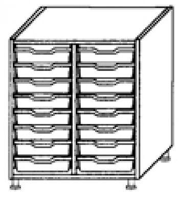 Eigentumsschränke, 2-reihig 2x8 flache Schübe