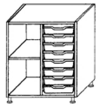Eigentumsschränke, 2-reihig 1x8 flache Schübe rechts