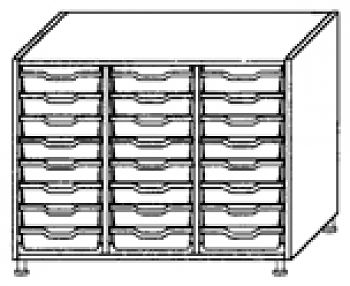 Eigentumsschränke, 3-reihig 3x8 flache Schübe