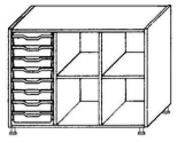Eigentumsschränke, 3-reihig 1x8 flache Schübe links