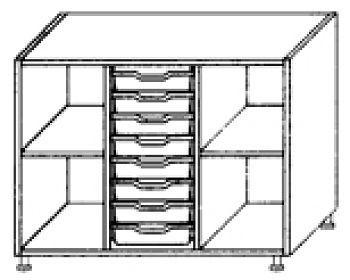 Eigentumsschränke, 3-reihig 1x8 flache Schübe mittig