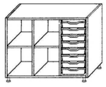 Eigentumsschränke, 3-reihig 1x8 flache Schübe rechts