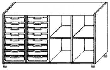 Eigentumsschränke, 4-reihig 2x8 flache Schübe links