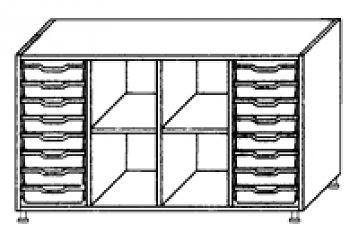 Eigentumsschränke, 4-reihig 2x8 flache Schübe rechts/links