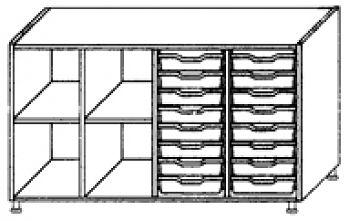 Eigentumsschränke, 4-reihig 2x8 flache Schübe rechts