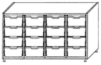 Eigentumsschränke, 4-reihig 4x4 hohe Schübe