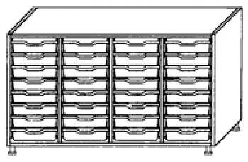 Eigentumsschränke, 4-reihig 4x8 flache Schübe