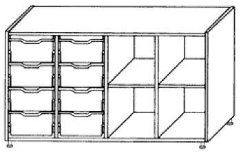 Eigentumsschränke, 4-reihig 2x4 hohe Schübe links