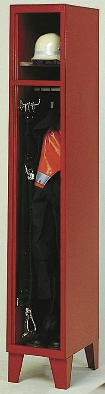 Feuerwehr-Garderobenschrank mit Blechsockel, 2 Abteile je Bx300 mm