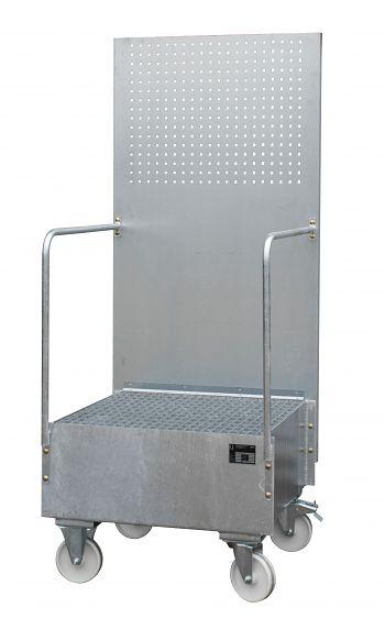 Fahrbare Auffangwanne mit Lochplatte 1 x 200 l, LxBxH: 870 x 890 x 2110 mm