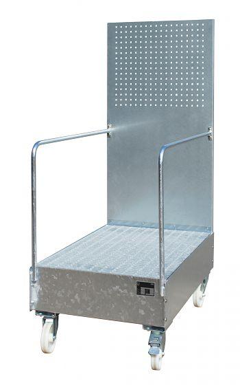 Fahrbare Auffangwanne mit Lochplatte 2 x 200 l,LxBxH: 1280 x 800 x 2110 mm