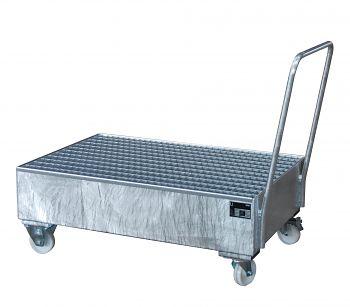 Fahrbare Auffangwanne aus Stahl für 2 x 200 l Fässer, stehend verzinkt