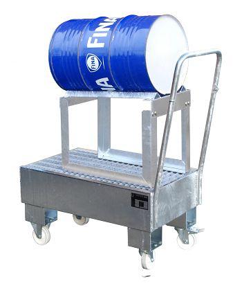 Fahrbare Auffangwanne aus Stahl für 1 x 60 l Fass, liegend mit Fassbock