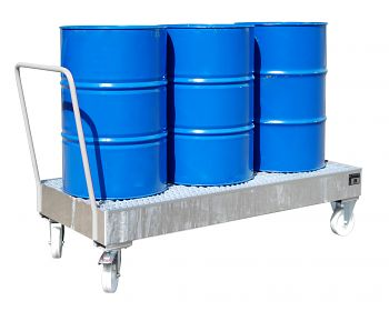Fahrbare Auffangwanne aus Stahl für 3 x 200 l Fässer, stehend verzinkt
