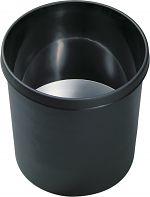 Objekt-Papierkorb 18 l, schwarz mit unbrennbarem Alu-Einsatz VE=5 St.