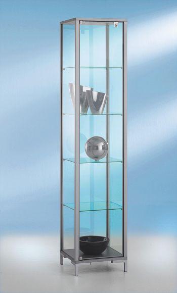 Säulenvitrine, Serie Link, Drehtür 4 Böden, BxHxT 400 x 1860 x 400 mm