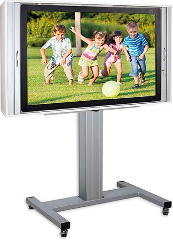 Fahrbares alu TV-System höhenver- stellbar mit abschließbarem Schrank