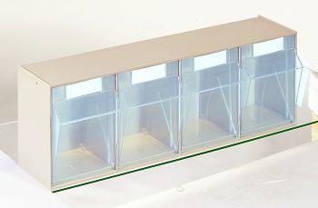 System-Elemente mit Gehäuse 600 x 168 x 207 mm, 4 Behälter