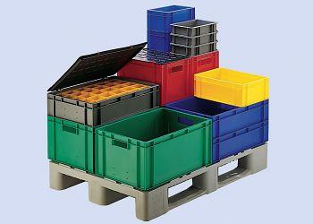 Transport-Stapelkasten rot L x B x H 400 x 300 x 320 mm