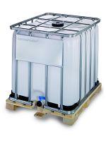 Container auf Holzpalette 1000l , Gefahrgutausführung