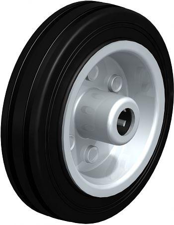 Rad mit schwarzen Standard- Vollgummireifen 100x30mm