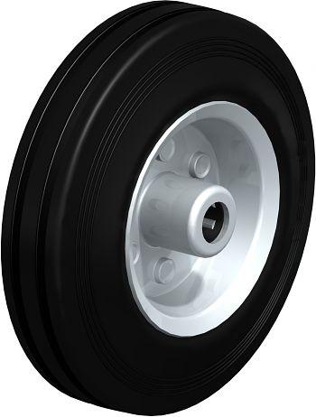 Rad mit schwarzen Standard- Vollgummireifen 125x37,5mm