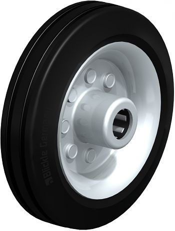 Rad mit schwarzen Standard- Vollgummireifen 150x40mm