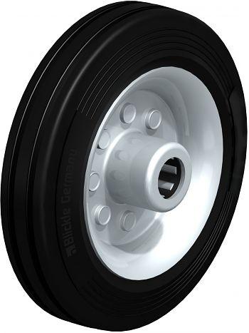 Rad mit schwarzen Standard- Vollgummireifen 160x40mm