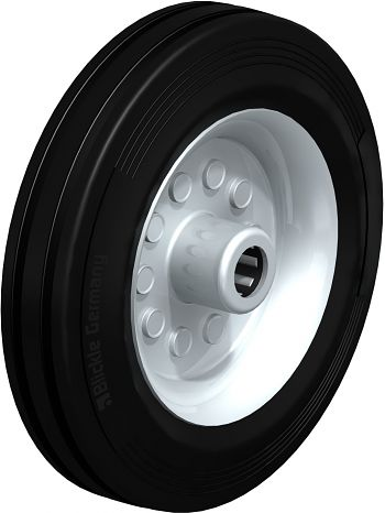 Rad mit schwarzen Standard- Vollgummireifen 200x50mm
