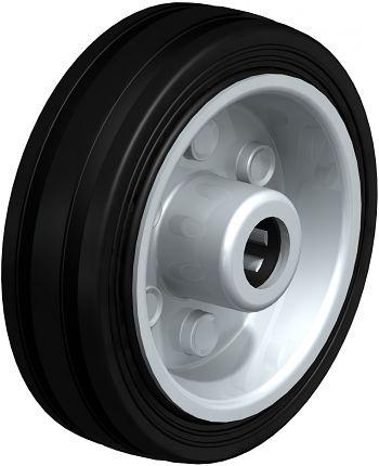 Rad mit schwarzen Standard- Vollgummireifen 80x25mm
