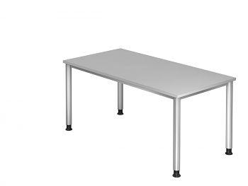 Schreibtisch Serie H, Dekor: Grau BxTxH: 1600 x 800 x 680-760 mm
