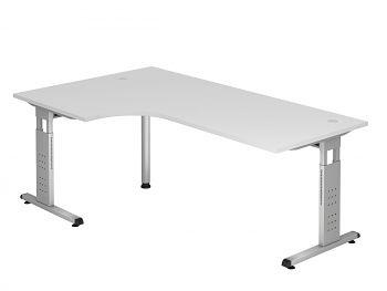 Winkelschreibtisch Serie O, Dekor: Weiß, BxTxH: 2000 x 2000 x 650-850 mm