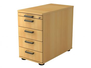 Standcontainer Serie H,  Dekor: Buche BxTxH: 428 x 800 x 720-760 mm