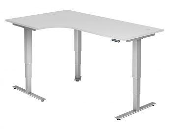 Winkel-Arbeitstisch, Dekor: Weiß BxTxH: 2000 x 1200 x 635-1285 mm